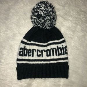 Abercrombie kids navy blue and white stocking hat